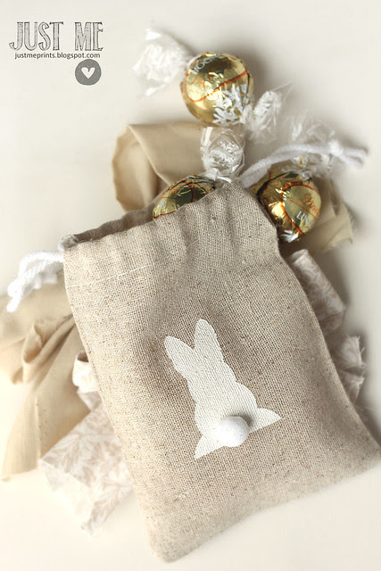 stenciled easter treat bags