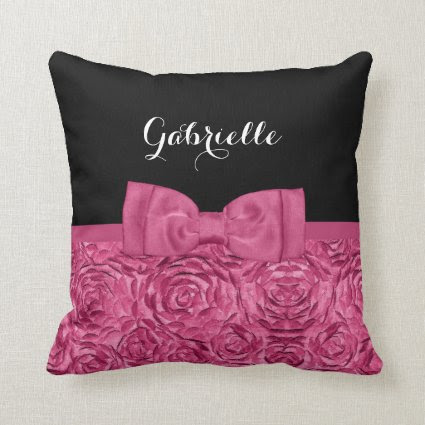 Girly Pink and Black Rose Floral Cute Bow Pillow