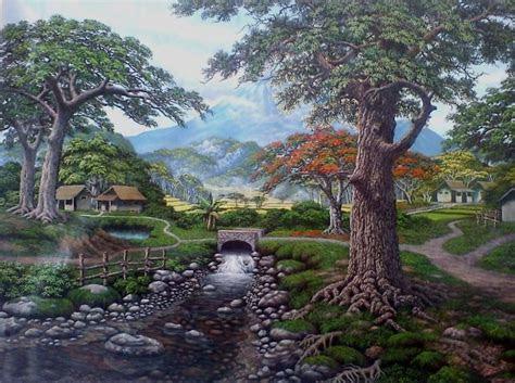 wallpaper pemandangan desa lukisan pemandangan alam desa