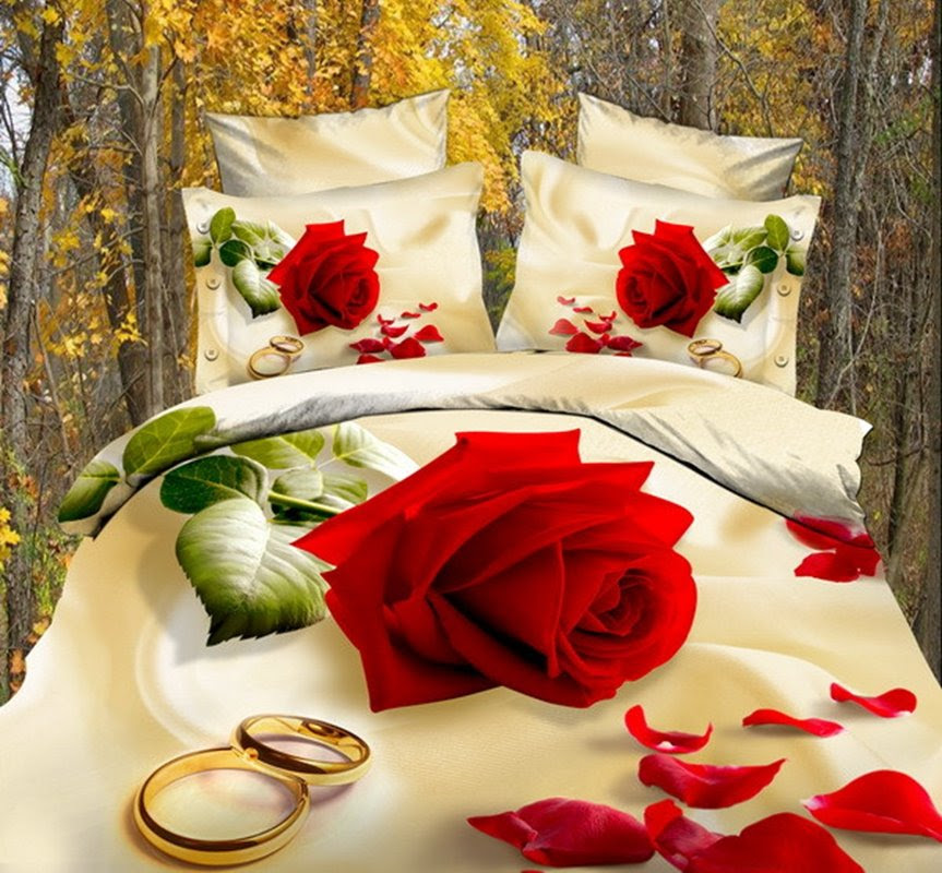 Hot Sell High Quality Romantic Style Bright Love Rose 4 Pieces Bedding Sets