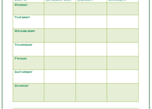 7 Day Menu Planner Template – Printable Documents