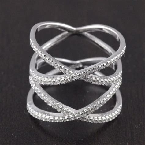 Womens 925 Sterling Silver CZ Knuckle White Highway Criss