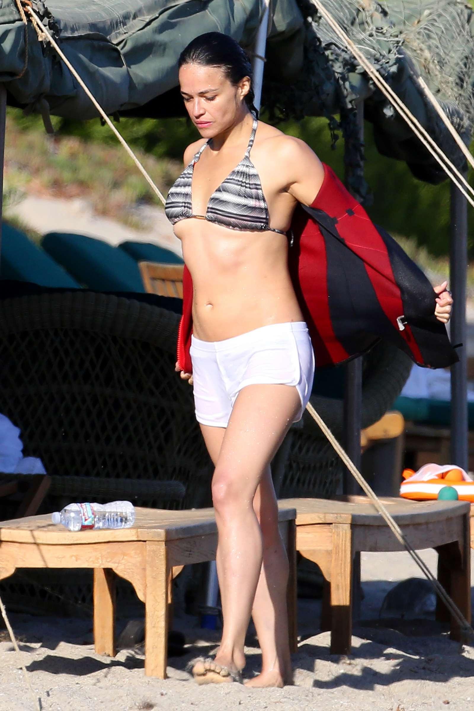 Michelle Rodriguez in Bikini Top on a jet ski in Malibu