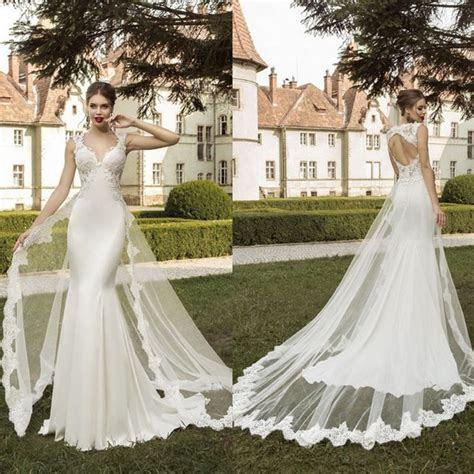 Cut Out Back Mermaid Wedding Dresses Detachable Train
