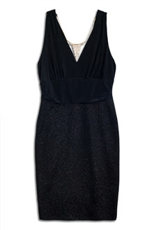 Plus Size Empire Waist Dress with Necklace Detail Black