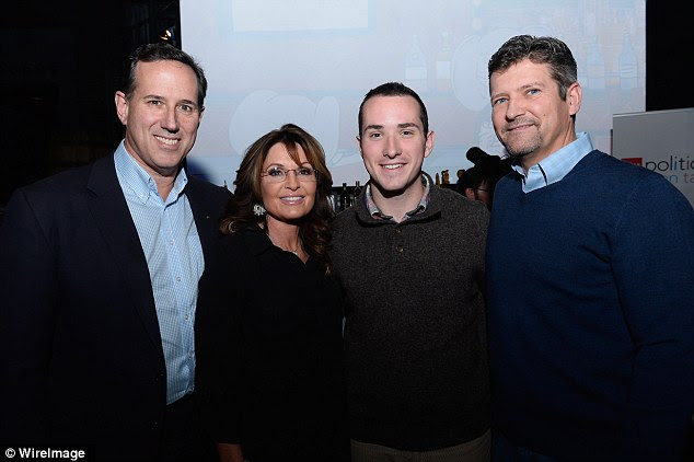 GOP hopeful Rick Santorum (left) stopped by to say hello to Palin (middle left) and they brought family members Daniel Santorum (middle right) and Todd Palin (right) along for the ride