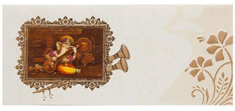 Indian Wedding Invitation With 3D Ganesha & Floral