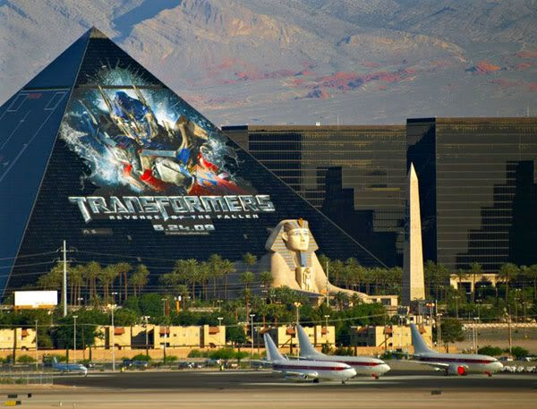 A TRANSFORMERS 2 ad on the side of the Luxor hotel in Las Vegas.