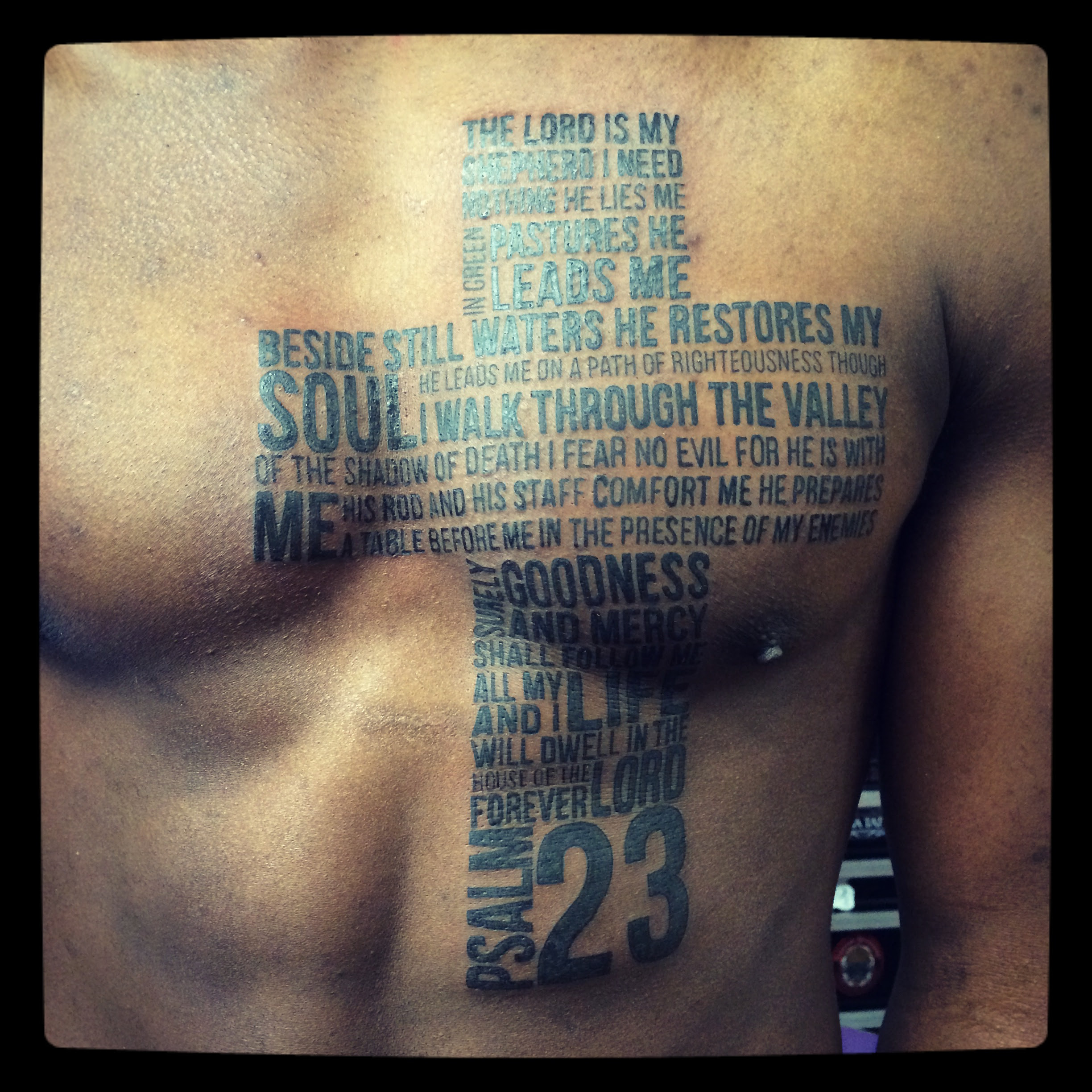 Psalm 23 Tattoo On Chest