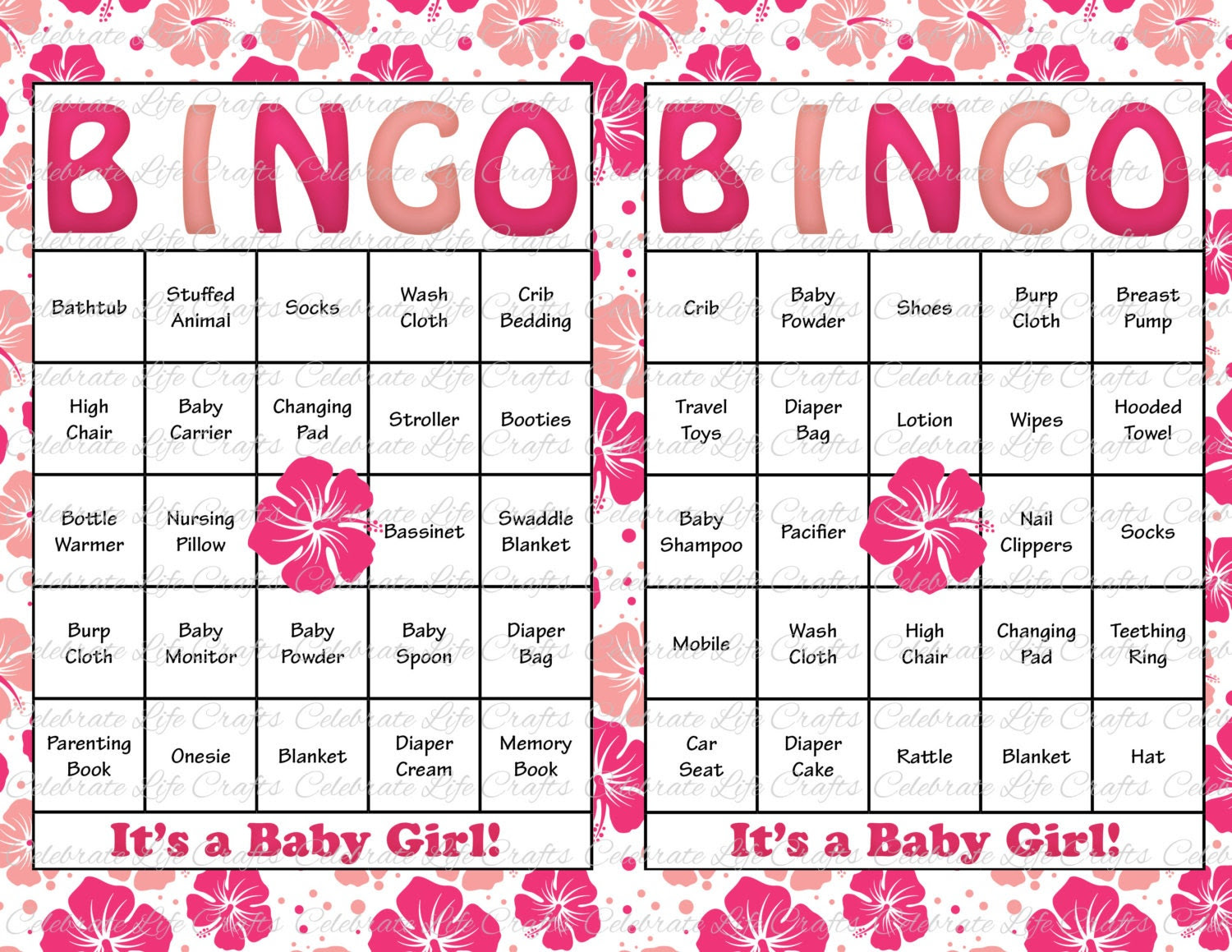 60 Baby Shower Bingo Cards Printable Party by CelebrateLifeCrafts