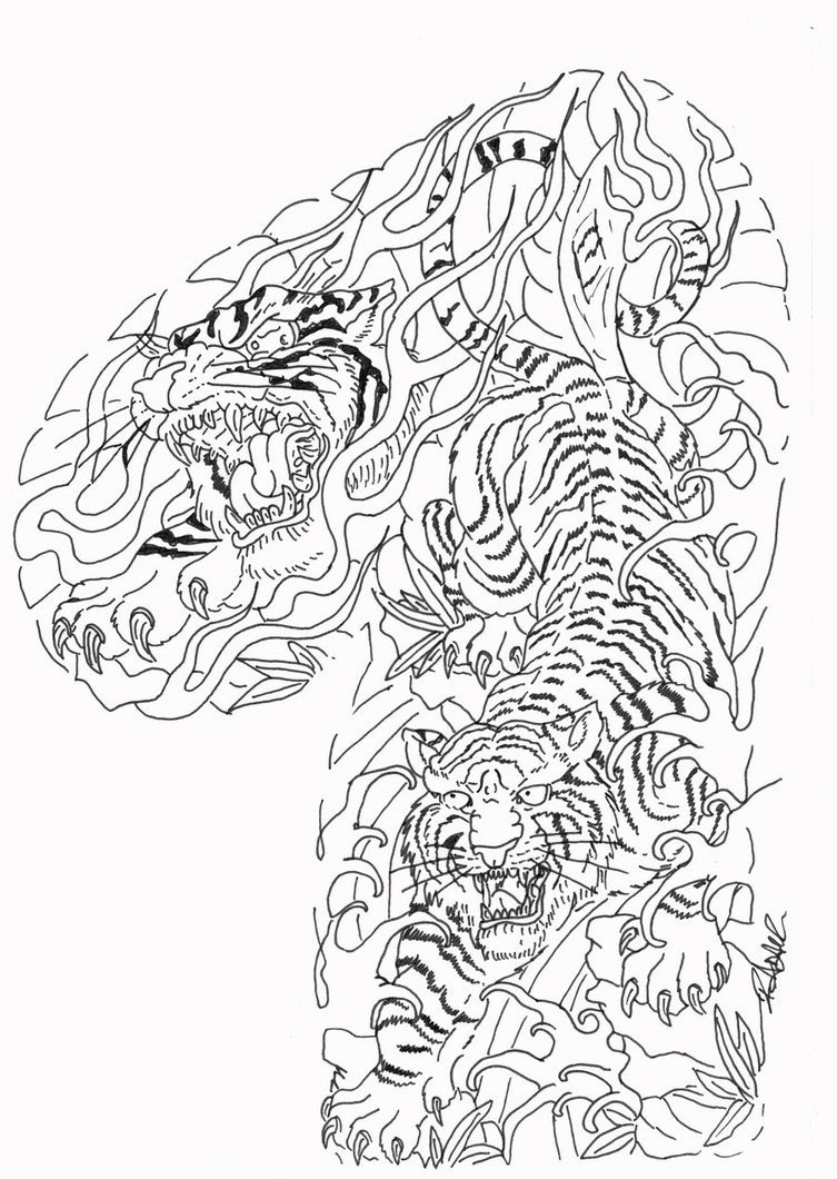 Attractive Grey Ink Tiger Tattoo Design