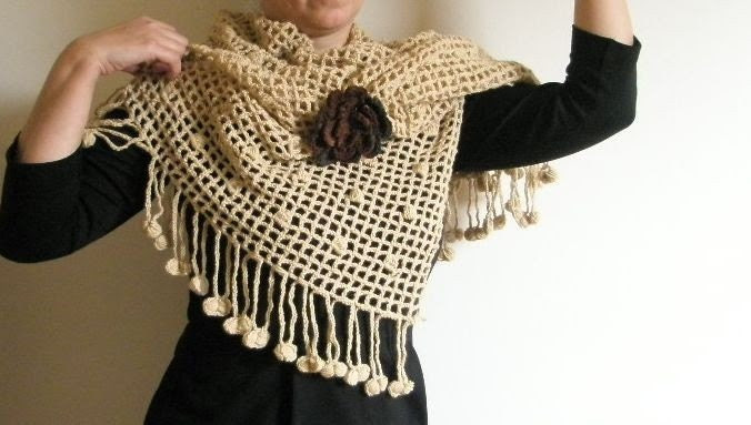 SHAWL CROCHET HAND CROCHETED LOVE RECTANGLE LACE WRAP