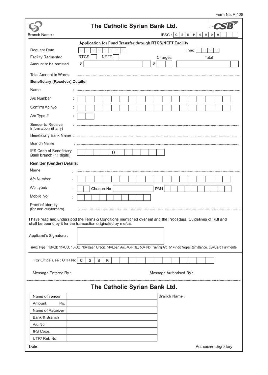 bank of india neft registration form