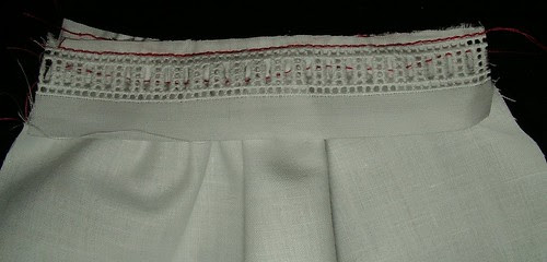 sew line next to entredeux and trim