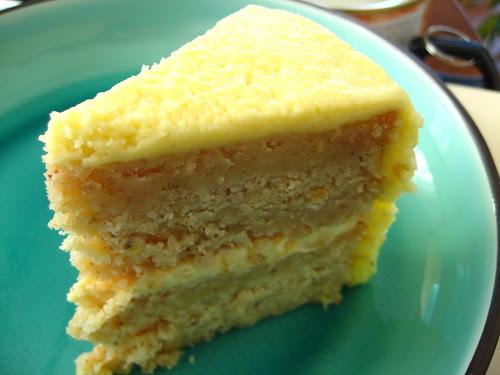golden lemon lavender almond cake