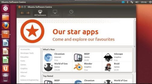 Much like the Windows Store, the Ubuntu Software Center gives users instant desktop access to thousands of applications, many of them free.