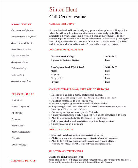 Student Call Center Resume Template