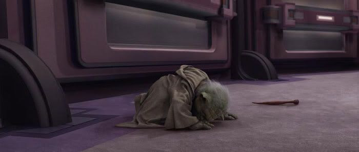 Yoda trying to get up from the ground during his duel with Emperor Palpatine/Darth Sidious.