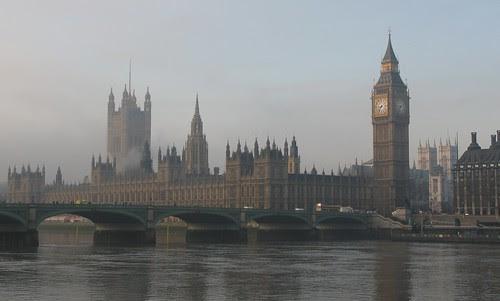 Parliament in mist