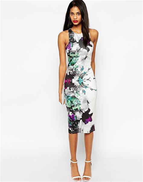 ASOS   ASOS Floral Placed Midi Body Conscious Dress at