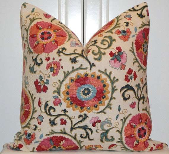 Decorative Pillow Cover - 22 x 22 - Designer Fabric - Suzani - Throw Pillow - Accent Pillow - JEWEL - Pink - Red - Blue - Green - Coral