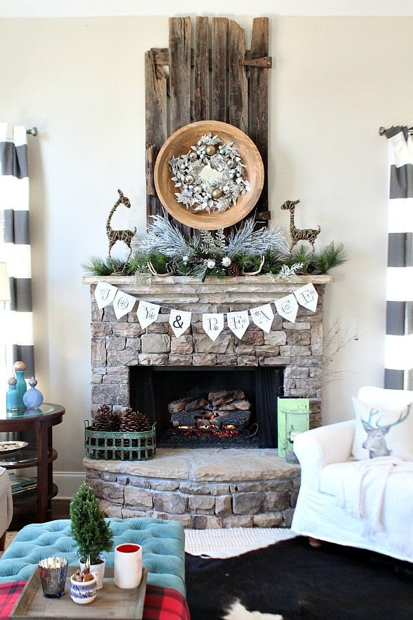 Stone fireplace hymnal banner at refresh restyle Christmas home tour