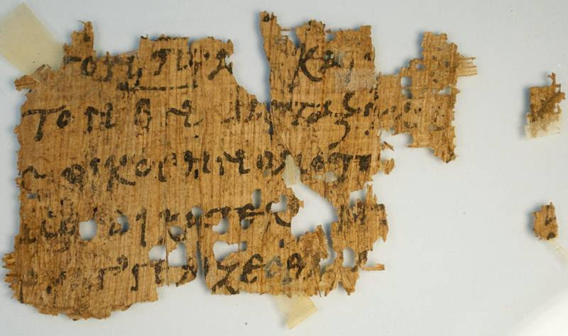 Fragmento de papiro con texto del Evangelio de Juan.