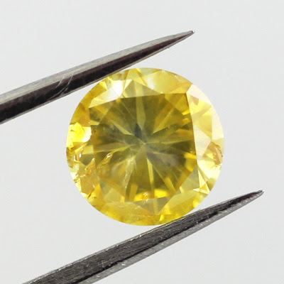 Fancy Vivid Yellow Diamond, Round, 0.77 carat