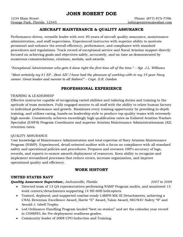 aircraft maintenance and quality assurance resume 1
