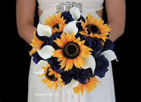 Navy Blue and Sunflower Wedding Bouquet ? OOSILE