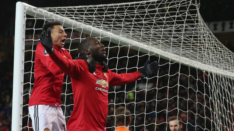Romelu Lukaku celebrates with Jesse Lingard after scoring against Brighton