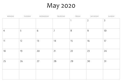 Calendar 2020 Template May