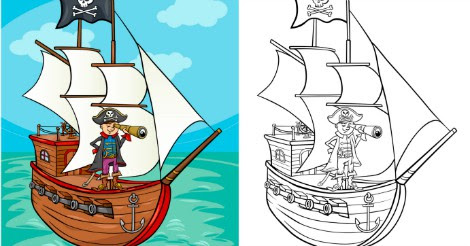 free color and write piratethemed coloring journal
