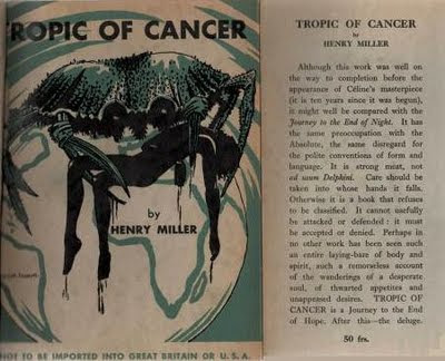 "Primera edición de ""Tropic Of Cancer"" (1938)"