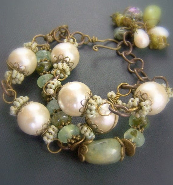 Pearl Gemstone Bracelet Vintaj Glass Pearls Brass Prehnite Burma Jade Wire Wrapped - Magnolia