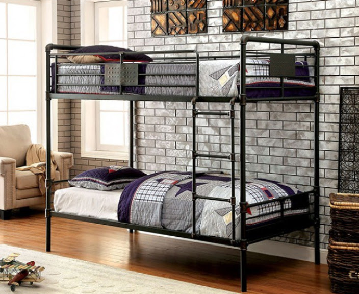 Throwback Look: Chic Industrial Piping Style Metal Bunk Beds  www.justbunkbeds.com