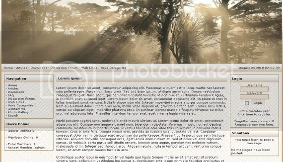 Forest Brown Web2.0 php-fusion Theme