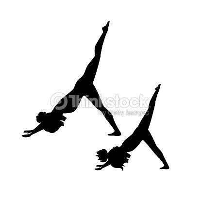 Madre E Hija Lo Silueta De Entrenamiento Yoga Arte Vectorial