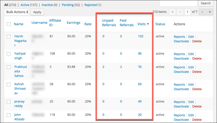 AffiliateWP referred user stats