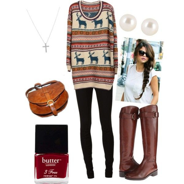 Winter Sweater, black leggings, brown riding boots, brown cross-body bag, pearl studs, simple braid, cross necklace, butter London polish