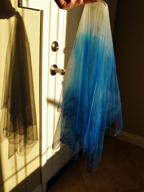 My ombre dip dyed blue wedding veil. Done with spray paint