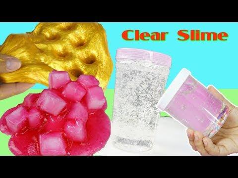 LÀM SLIME TRONG NHƯ NƯỚC - SLIME GOLD - THẠCH - XỐP ! DIY CLEAR SLIME ASMR