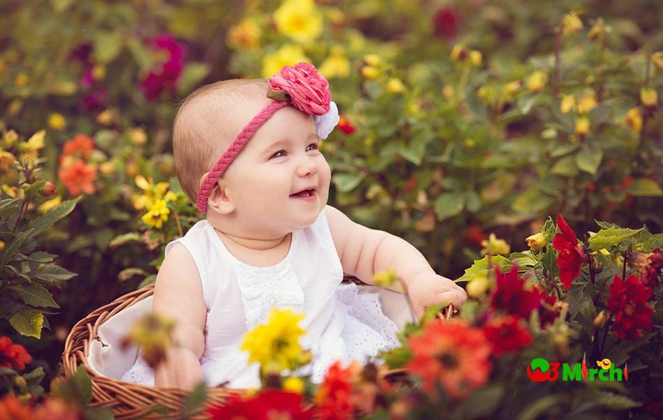 Cute Baby Girl In Garden