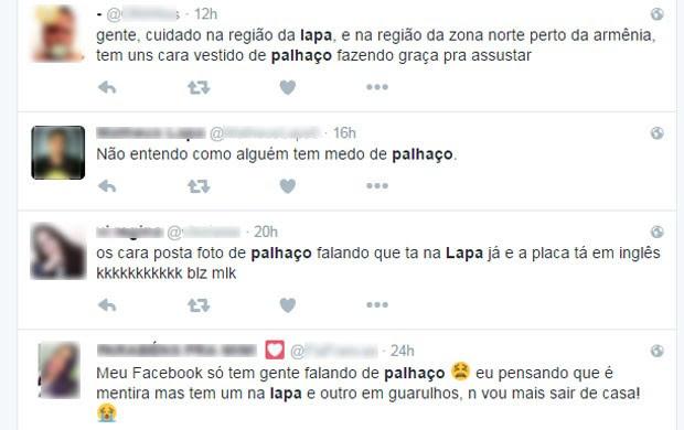 Usuários do Twiter falam sobre aparição de palhaço na Lapa, Zona Oeste de São Paulo (Foto: Reprodução/Twitter)