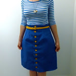 Blue Button Front Skirt