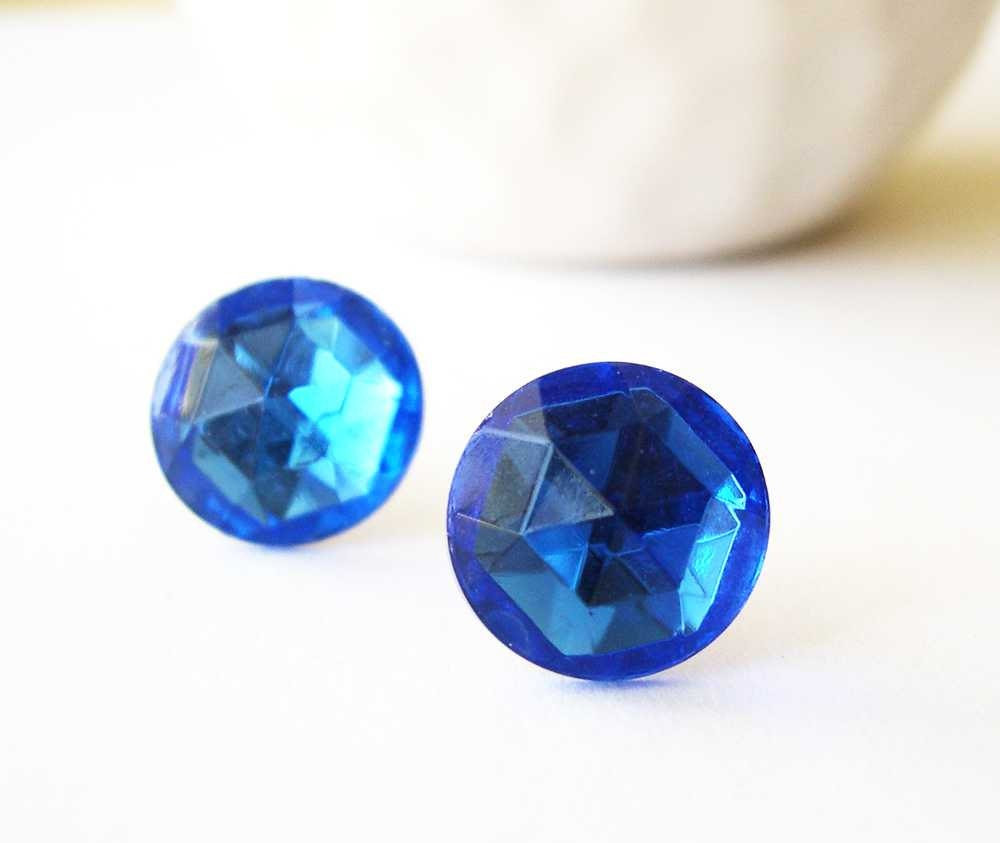 Blue Earrings - Bridal Jewelry, Bridesmaids Jewelry, Vintage Glass, Cab, Post, Stud, Nickel Free, Sapphire Colored, Titanium, Sparkle