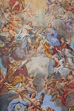 English: Sebastiano Conca's fresco on the ceil...