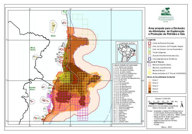 Mapa com proposta de exclusão de blocos feito pelas ONGs em 2003. Clique para ampliar (fonte: Conservação Internacional)