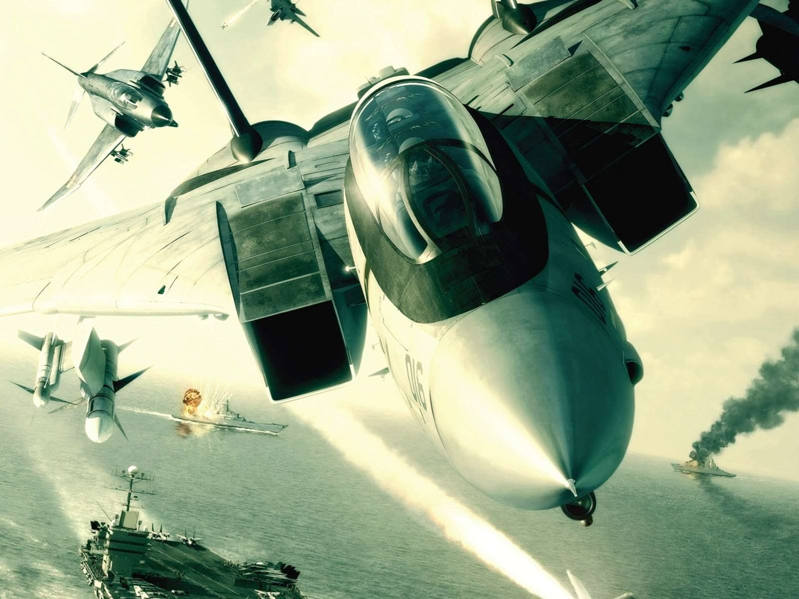 View Of F 14 Tomcat In Flight Ace Combat 5 Wallpaper Hd Wallpapers