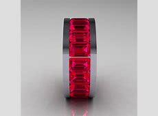 Mens Modern 10K White Gold Ruby Channel Cluster Infinity Wedding Band R174 10WGSDR   Art Masters